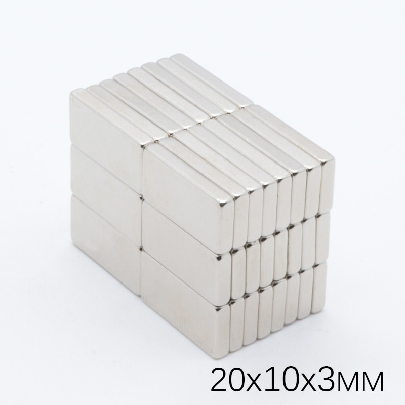 50pcs 20x10x3 mm Neodymium Magnet Block N35 Permanent Super Strong Powerful Small Magnetic Magnets Square Rare Earth NdFeb недорого