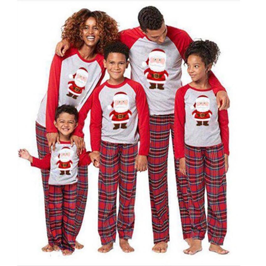 Fashion Cute Christmas Parent-children Pajamas Set Santa Claus Printed Top Plaid Pants Set O-Neck Fu