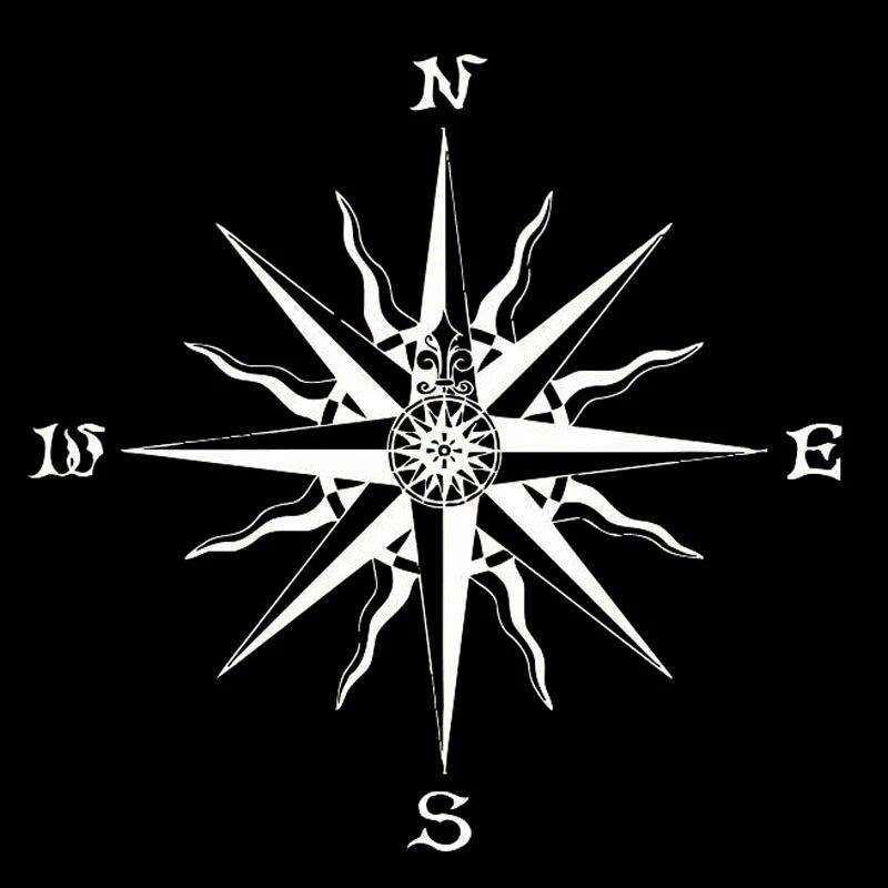 Автомобильная наклейка NSWE Роза компас модная виниловая Автомобильная Наклейка Черная/серебряная Автомобильная наклейка 20 см * 20 см