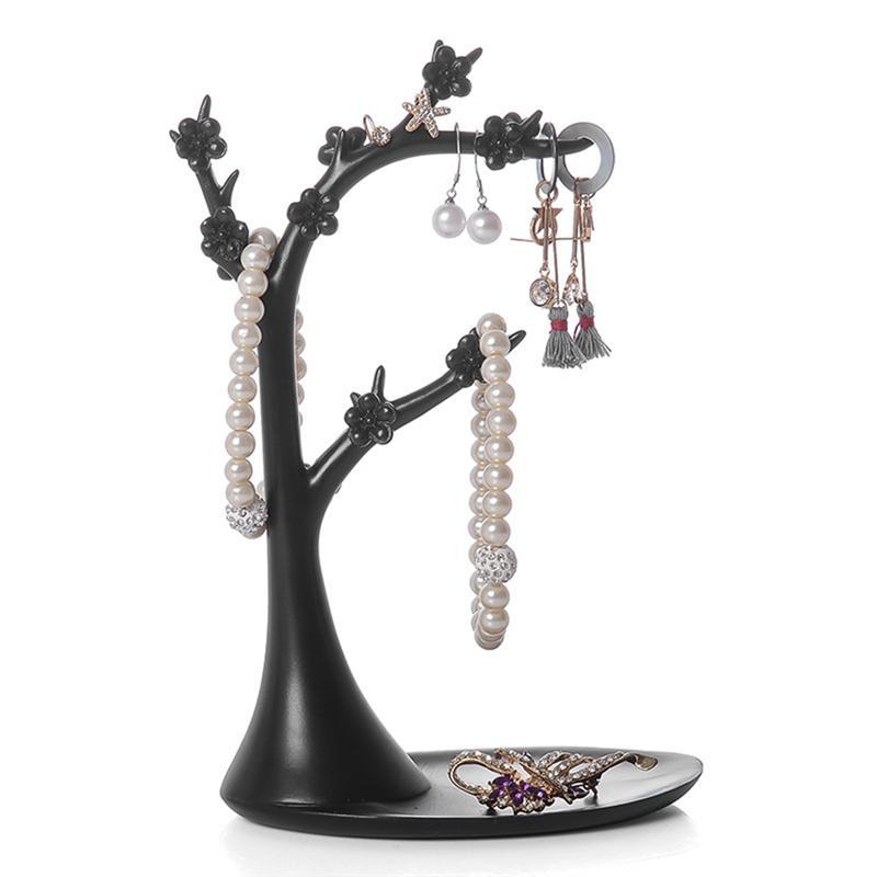 Soporte de joyería en forma de árbol de ciruelo de resina soporte de exhibición de escritorio soporte para anillos de joyería collares pendientes (negro)