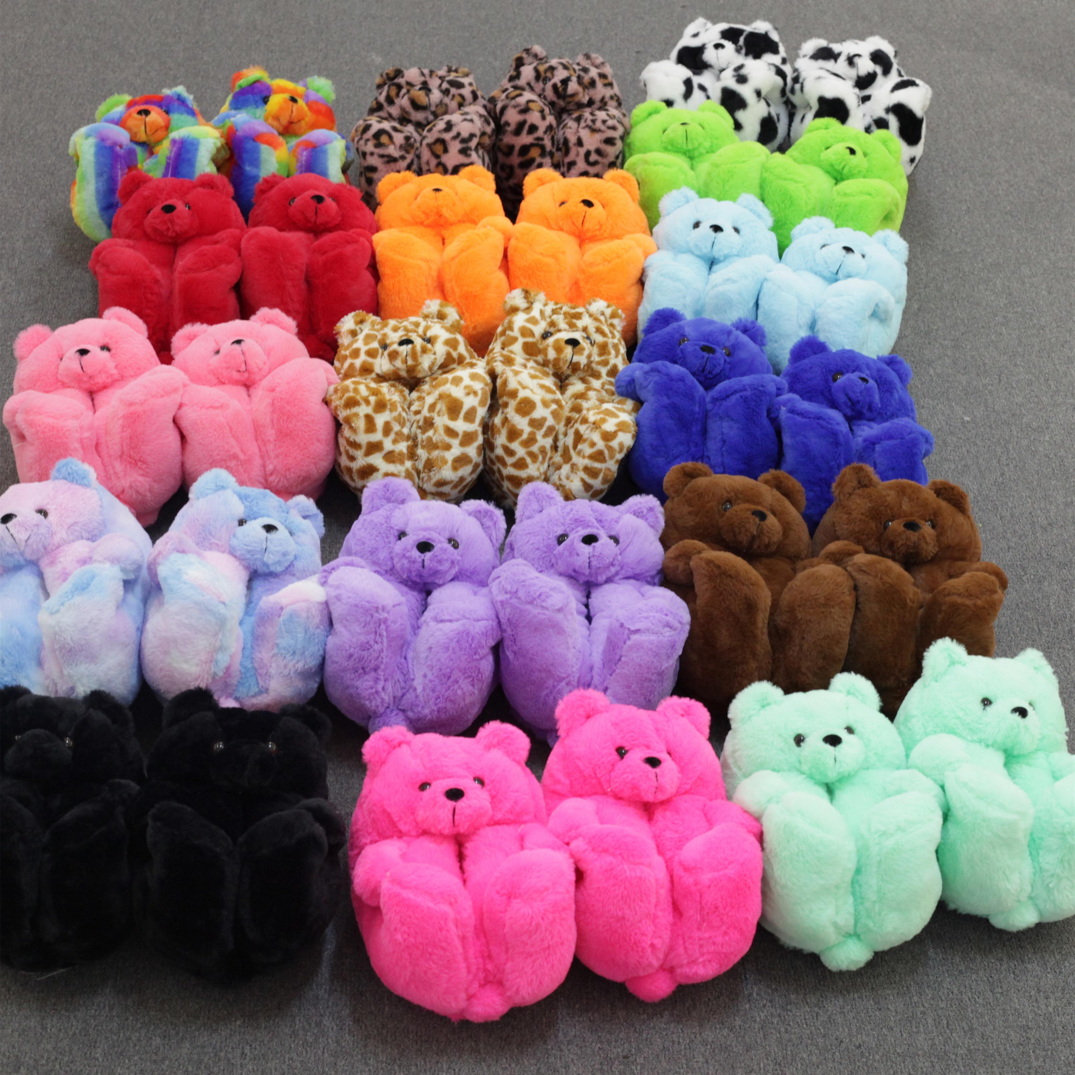 Teddy Bear women christmas plush slippers Cartoon Cute Bear House Slipper Furry Faux Fur Slides Woman Furry Flip Flop Shoes