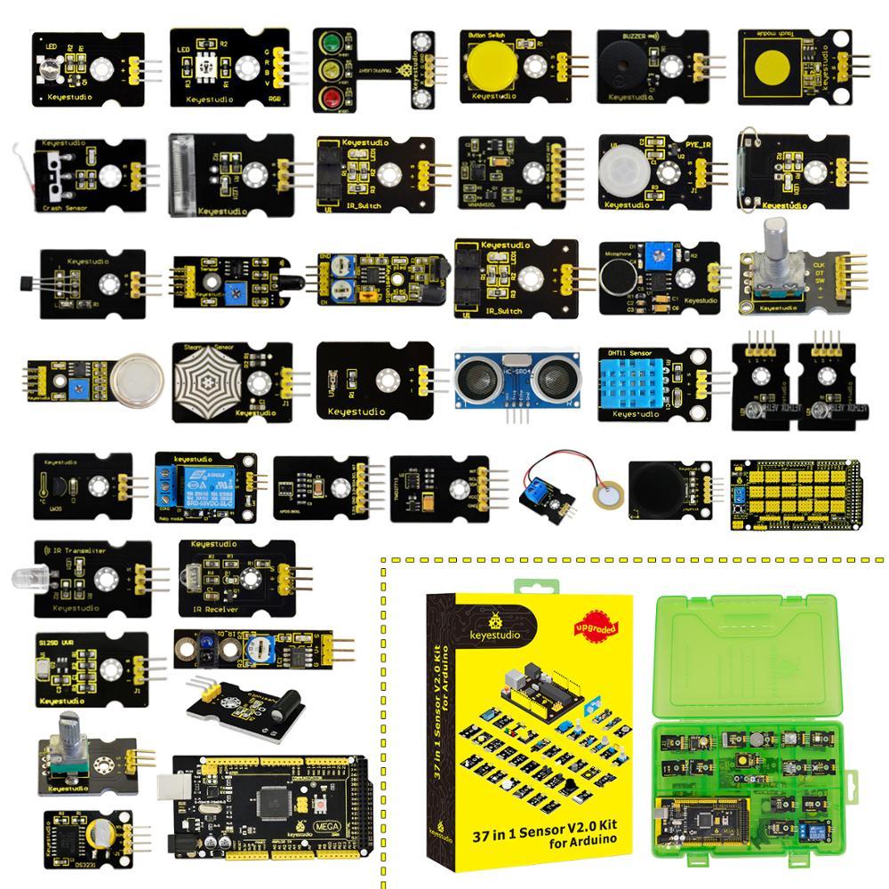 Keyestudio New Sensor Starter Kit V2.0  37 in 1 Box  Sensor Kit With Mega 2560 Board for Arduino StarterKit