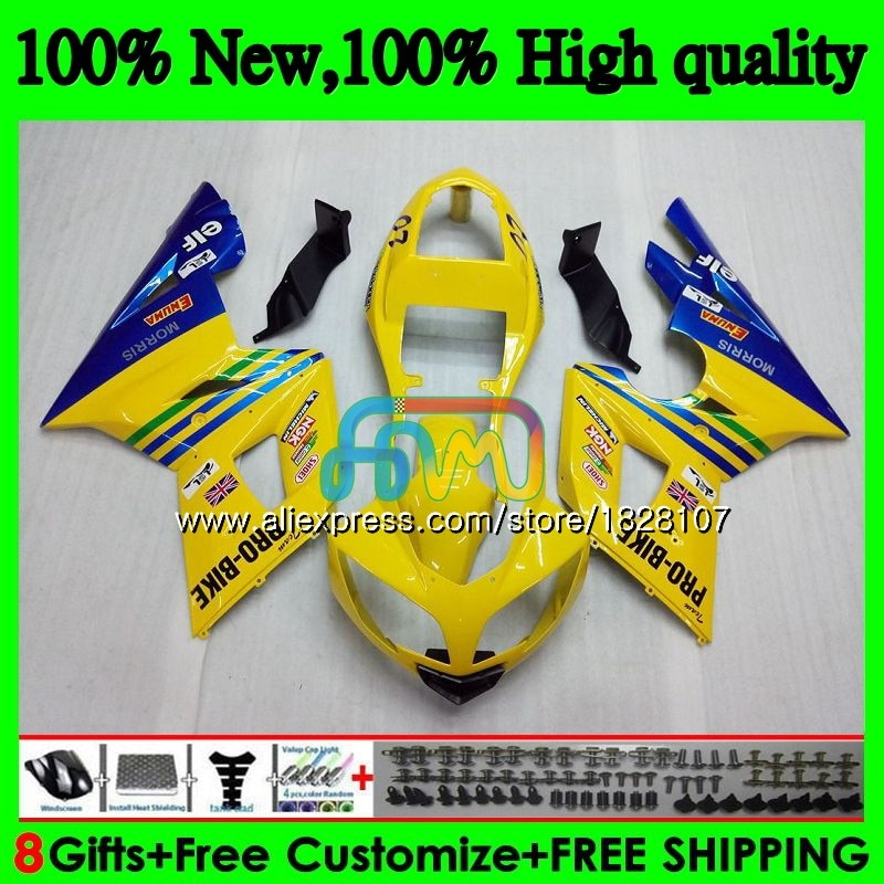 الجسم ل انتصار دايتونا 600 650 02 03 04 05 Daytona650 74BS.11 Daytona600 الأزرق الأصفر دايتونا 650 2002 2003 2004 2005 Fairings