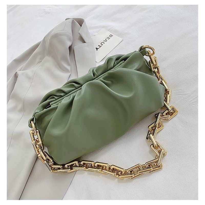 2021 Day Clutch Thick Gold Chain Dumpling Clip Wallet Bag Lady Cloud Underarm Shoulder Bag Pleated Long Bag Handbag Fashion Bag
