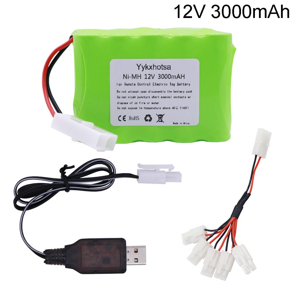 12V 12V 3000mAh batería de Ni-MH Tamiya enchufe con USB cargador 10x AA Ni-MH batería para eléctrica RC juguetes RC camiones de automóviles barcos