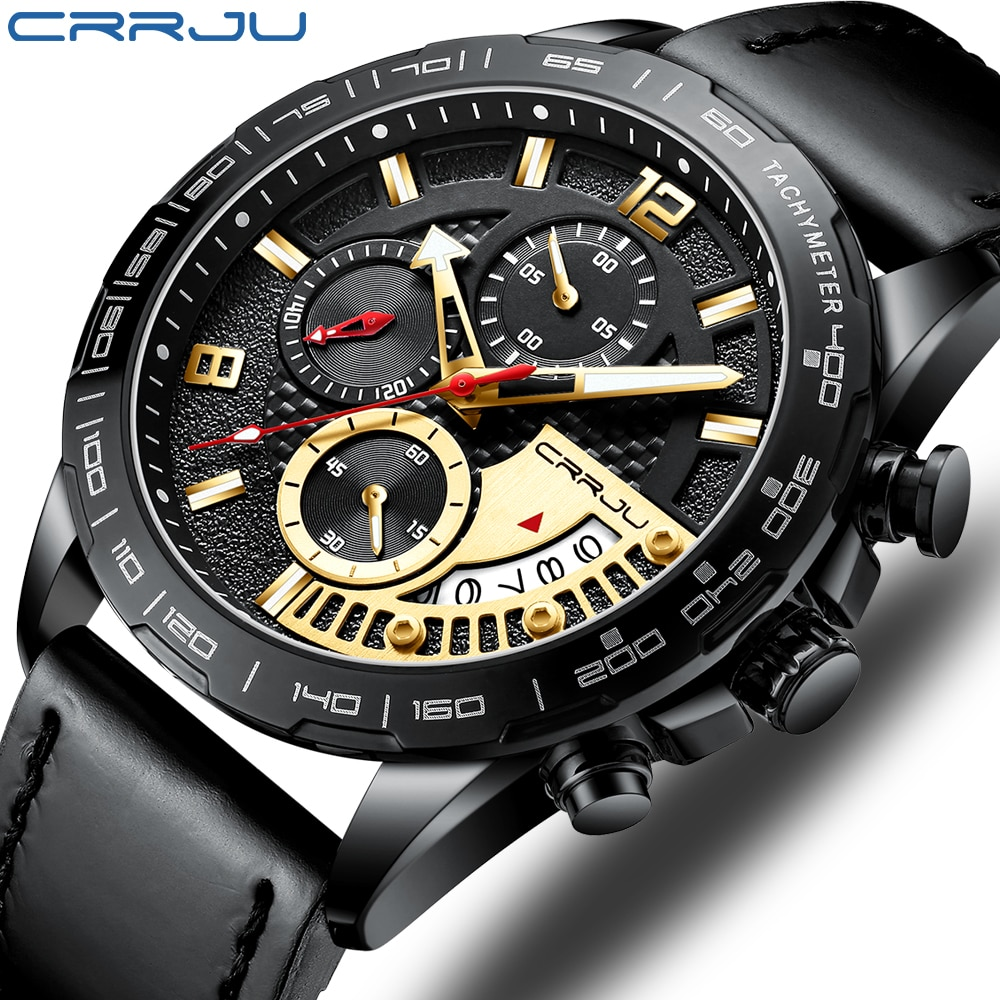 CRRJU-montre à Quartz pour hommes, avec calendrier, style de luxe, à Quartz, or, chronomètre