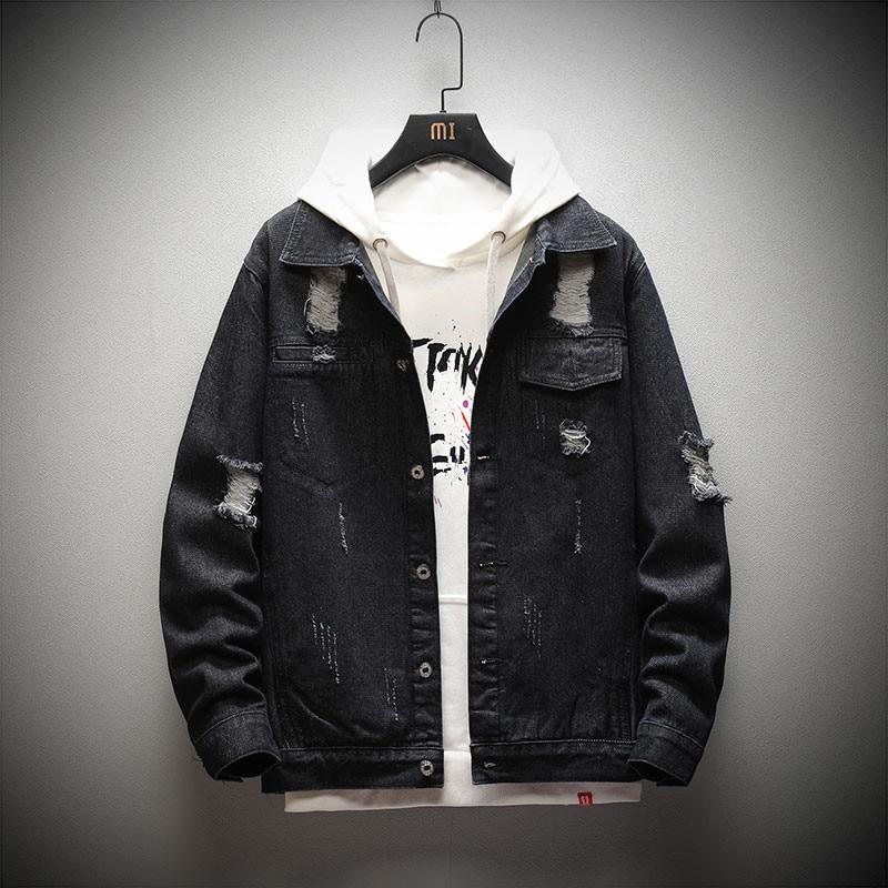 2021 New Denim Jacket Men Fashion Streetwear Mens Casual Jeans Jackets Coats Hip Hop Hole Bomber Den