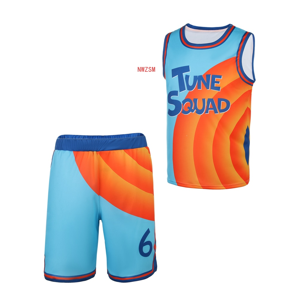 Space-Jam Basketball Jersey Tune-Squad #6 James Top and Shorts Cosplay Costume Movie A New Legacy Ba