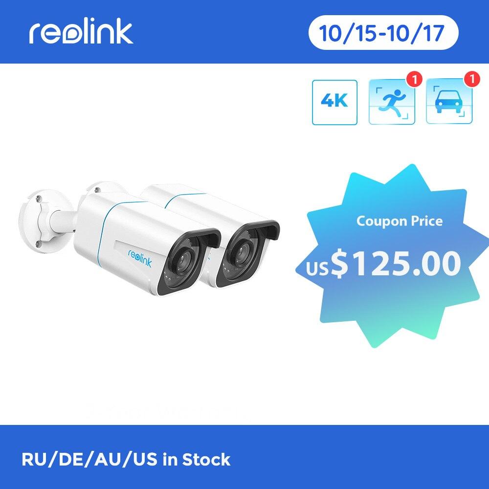 ريولينك الذكية IP كاميرا 4K 8MP PoE في الهواء الطلق الإنسان/سيارة كشف الأشعة تحت الحمراء للرؤية الليلية الإنسان/سيارة كشف RLC-810A[2 حزم]