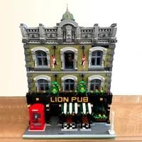 creative expert street view lion pub club bar 5910pcs 89107 modular house moc brick model building blocks grand emporium