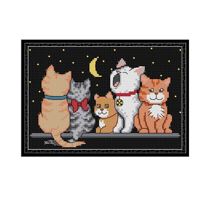 Joy Sunday Five Kittens Cross Stitch Kits Embroidery Needlework Sets Cat Animal Patterns Printed On Canvas DMC DIY Handmade Sets