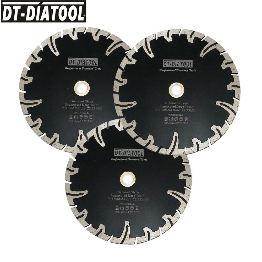 DT-DIATOOL 3pcs Dia 7inch/180mm Segmented Deep Teeth Diamond Saw Blades Cutting Disc for Cutting Granite Stone Concrete