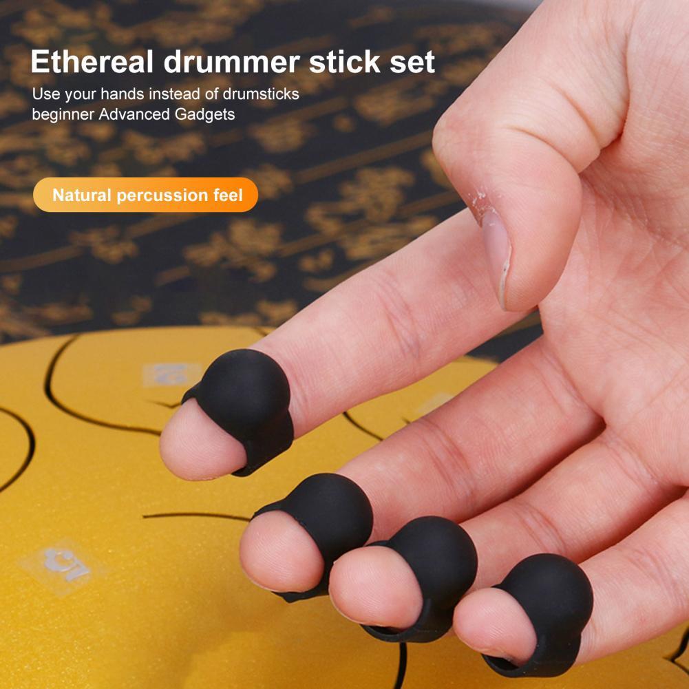 Black 4Pcs/Set Long-lasting Drumstick Finger Sleeve Set Silicone Drum Finger Sleeve Close Fit for Ethereal Drum