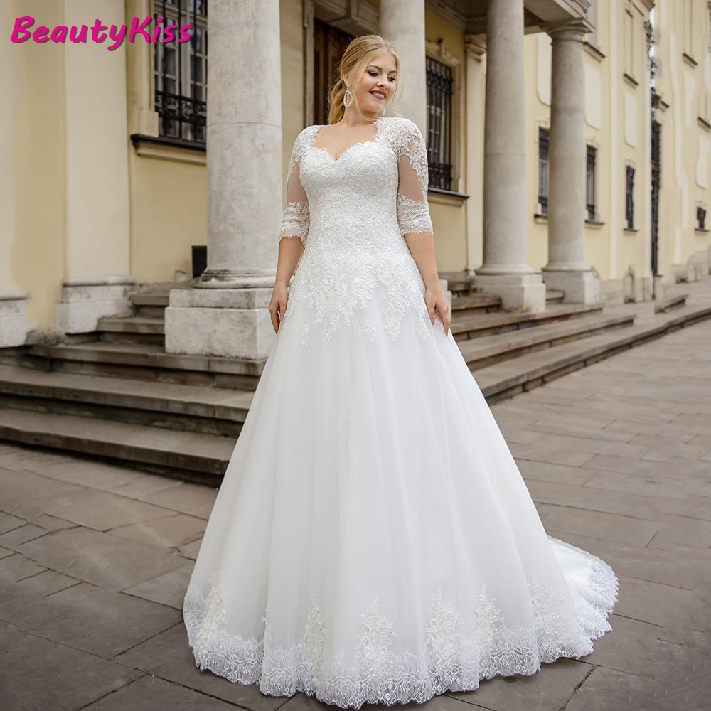 Promo 2020 Organza A Line Wedding Dress Plus Size Half Sleeve Lace Tulle Appliques Lace Up Back Bride Dress For Big Size Women