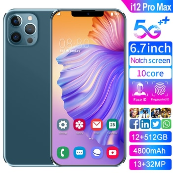 2021 Hot Sale Phone i12 Pro Max Global Version Smartphone Snapdragon 888 Face ID 12GB RAM 512GB ROM 7.2Inch Mobile Phone