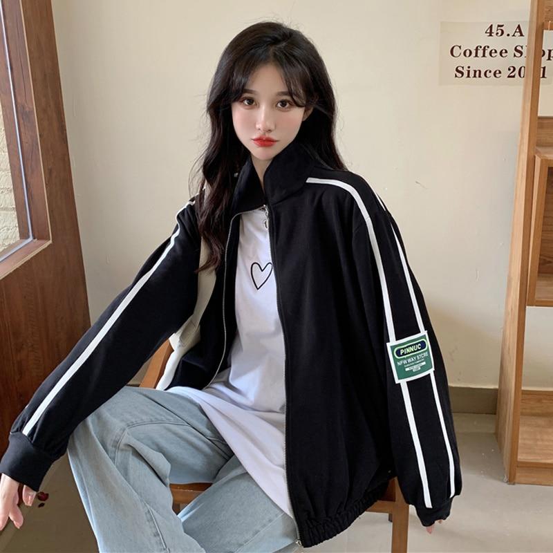 Autumn Korean Women's Jacket Cardigan 2021 New Loose Contrast Striped Stand Collar Sweater Sportswea