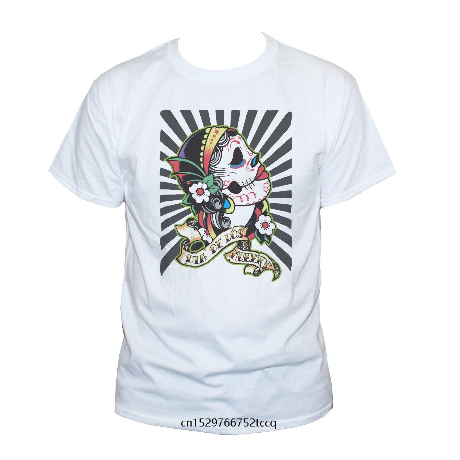 Camiseta con personalidad, Camiseta con estampado con dibujo Rockabilly de calavera mexicana, Camiseta de algodón para hombres