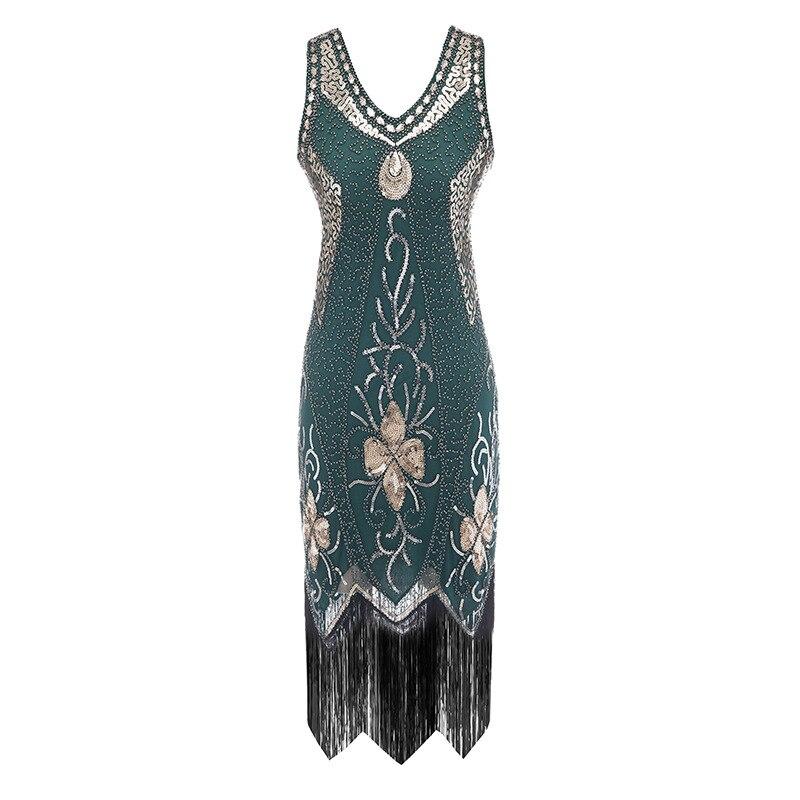 2020 femmes 1920 s Vintage magnifique Gatsby robe paillettes robe col en v glands moulante perlée robe de soirée clapet robes Art déco