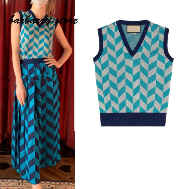 2021 luxury brand irregular Plaid fashion women's sleeveless vest Knitted Top temperament versatile V-neck slim pattern Pullover