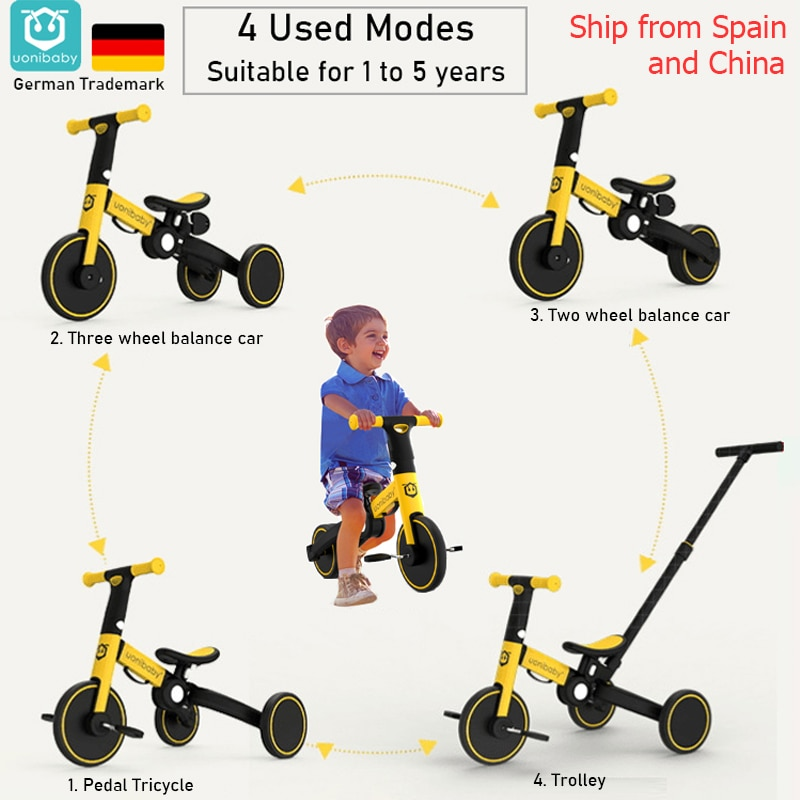 4  into 1 Children Bicycle Tricycle Child Two Wheel Bike Foldable Baby Balance Bike Kids Scooter Baby Stroller for 1-6 Years Old infant shining two wheels balance bike 4 6 years old children walker 12 inch riding bicycle height adjustable kids scooter