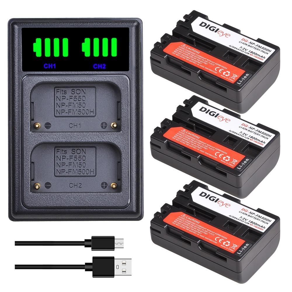 3 pces 1800mah NP-FM500H np fm500h bateria + led carregador duplo para sony alpha a68, a77ii, SLT-A57, a58, a65, a100, a350, a450, a550, a580