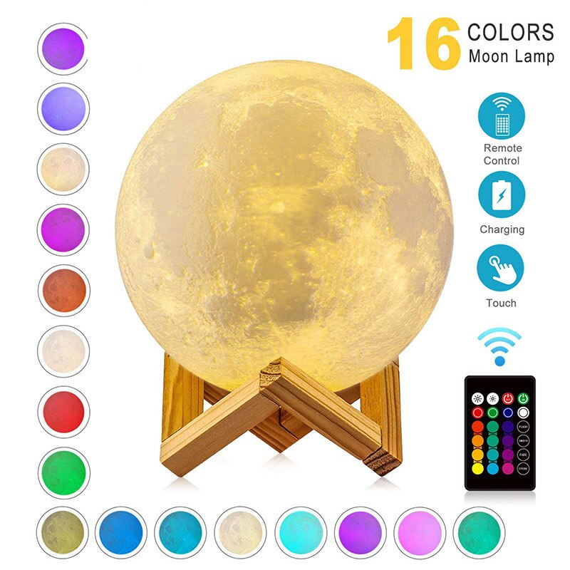 LED Night Light 3D Print Moon Lamp Rechargeable Color Change 3D Light Touch Moon Lamp Children's Lights Night Lamp for Home