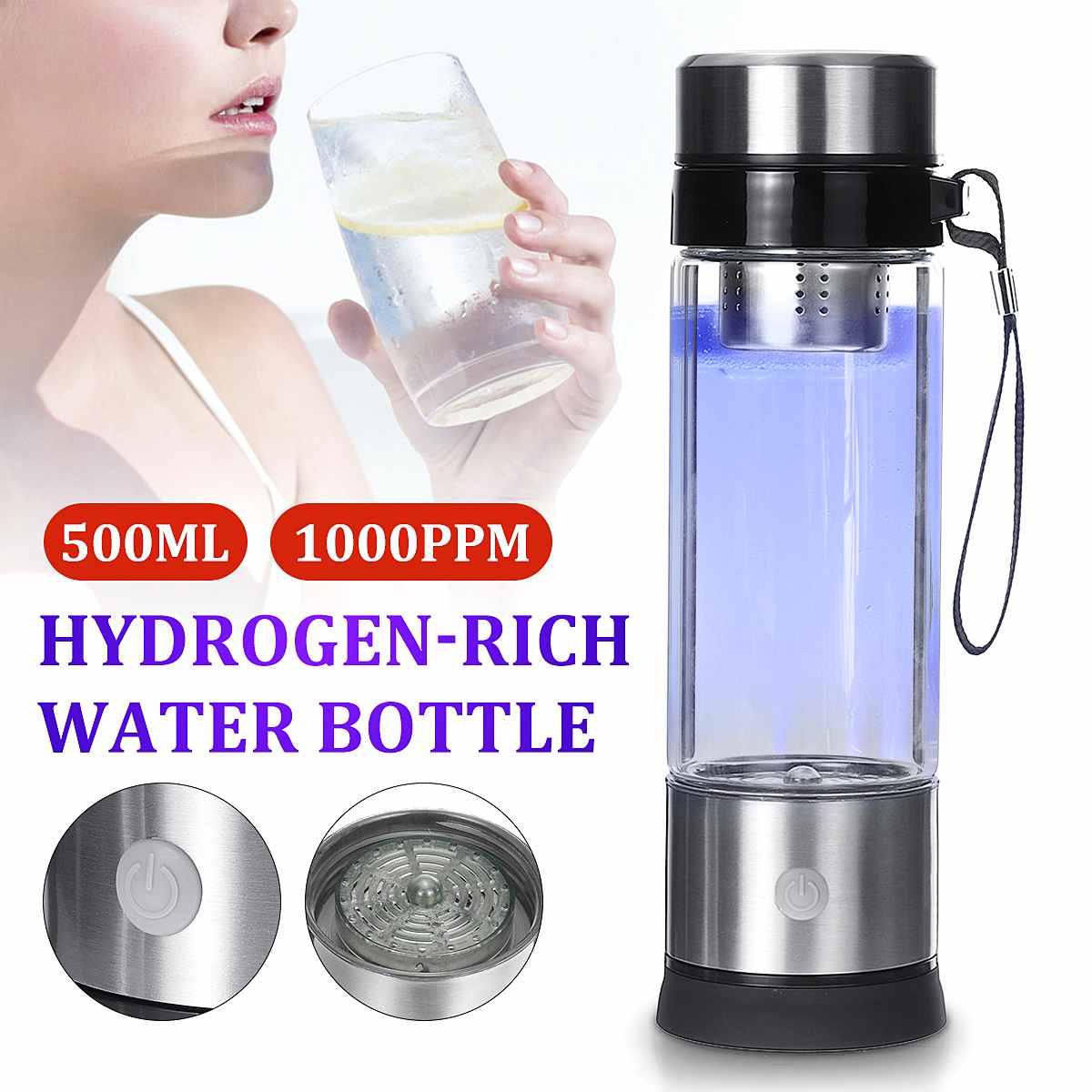 500ML Portable Hydrogen Water Generator Cup Water Filter Ionizer Maker/Generator Super Antioxidants Hydrogen Alkaline Bottle