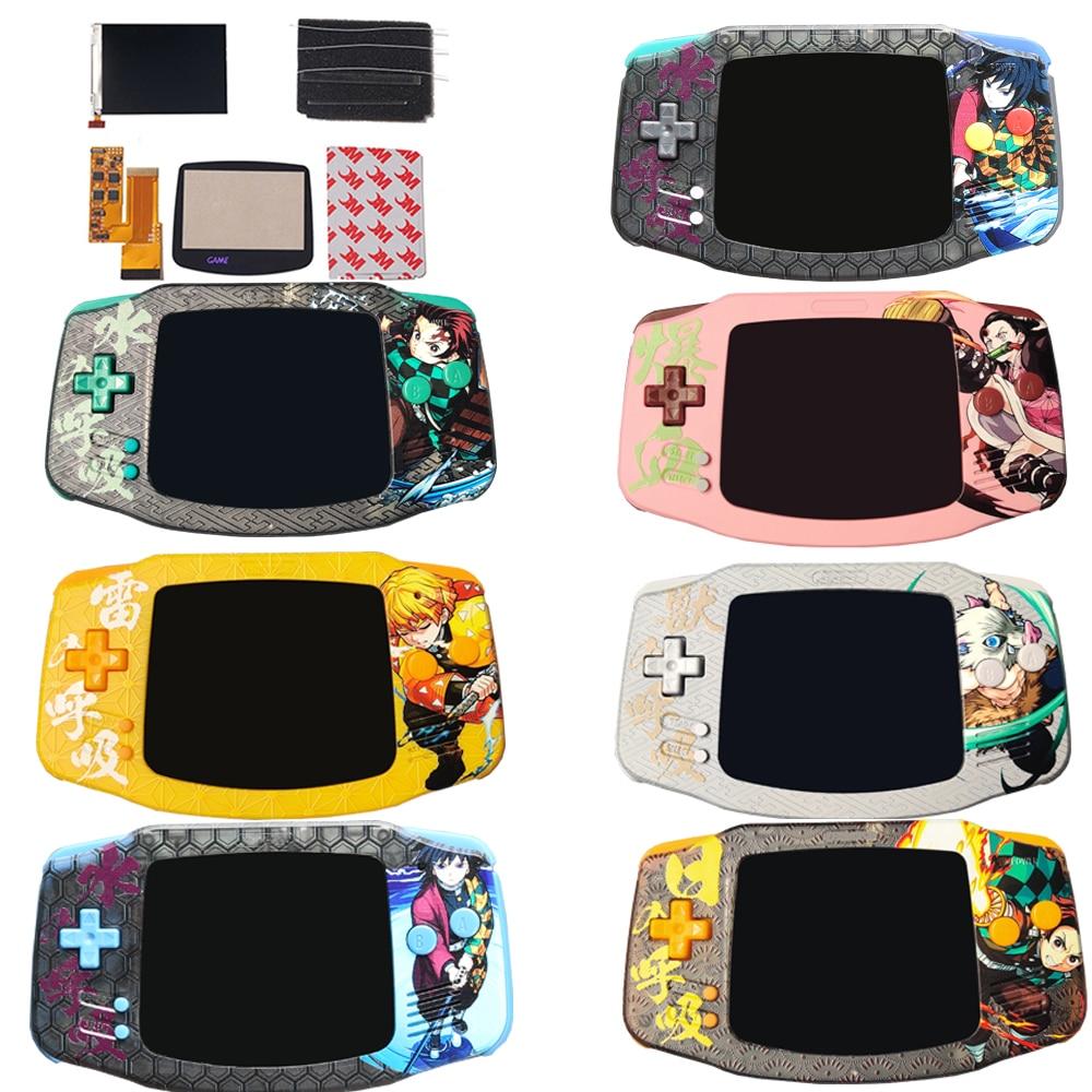UV baskılı özel konut IPS V2 ekran kitleri GBA arka V2 LCD yüksek parlaklık ayarı Gameboy advance