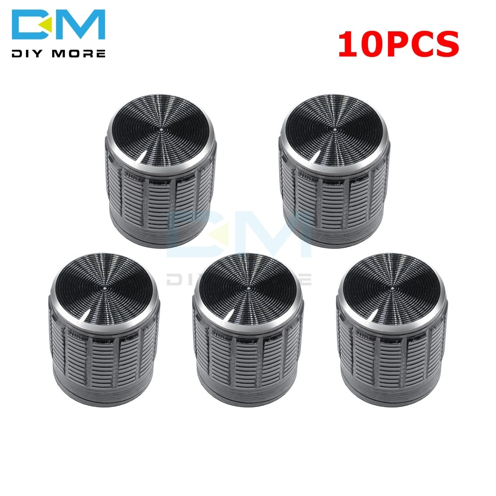 10 Uds 6mm de Metal negro rotativos, con control de volumen perillas para estriado del eje del potenciómetro 15x16,5mm plata tono interruptor de mando