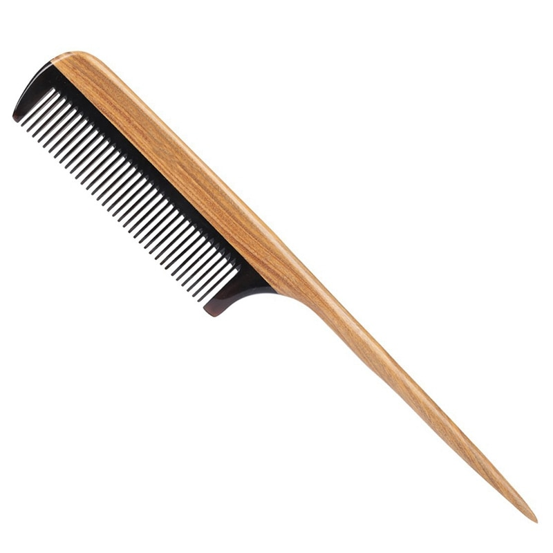 natural shen guibao wood buffalo horn exquisite thick long handle wooden comb coarse teeth hair massage no static combs Hair Combs -Natural Fine Tooth Wooden Tail Comb - No Static Purple Heart Wood Comb With Black Horn Teeth