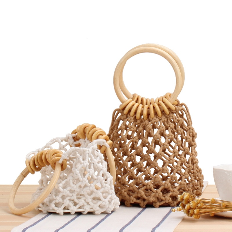 Pure Color Net Pocket Hand Woven Hand Series Cotton Thread Hand Carrying Seaside Vacation Beach Bag daughter in law mia mizhu series popular elastic bracelet ladies simple hand woven beach vacation style fashion bracelet