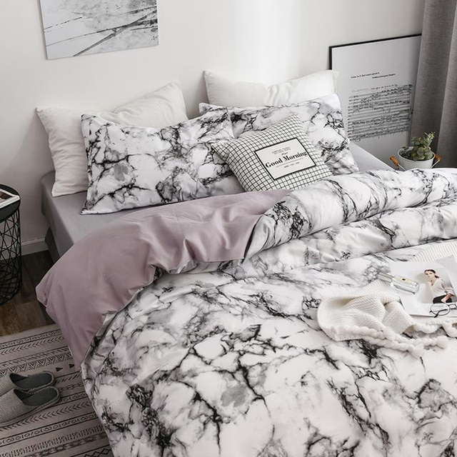The Bedroom Bedding Is A Comfortable White Marble Pattern Printed Duvet Cover (2/3 Piece Set), Single And Double Super Large 4