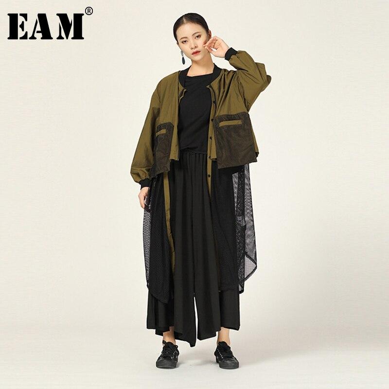 [EAM] gabardina calada de malla empalmada para mujer, nuevo soporte, manga larga, holgado, cortavientos, moda, primavera otoño 2020 1A712