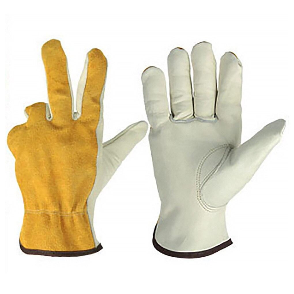 1 Pair Leather Gardening Gloves Hands Protective Non-slip Heat Resistant Welding Working Gloves