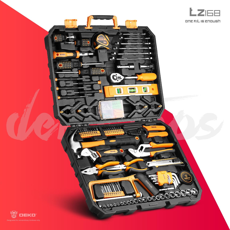 DEKO DKMT Series Hand Tool Set General Household Repair Hand Tool Kit with Plastic Toolbox Storage Case