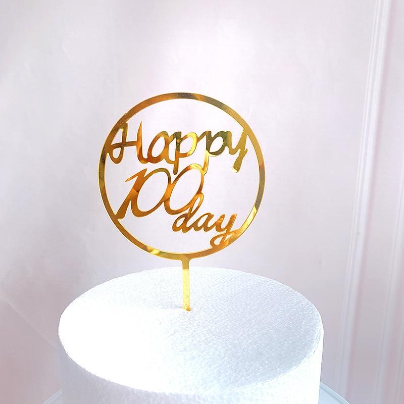 ¡Novedad de 100 días! Adorno acrílico para pastel de cumpleaños de oro rosa para bebé, adornos de pastel de fiesta de cumpleaños para bebé, Baby Shower