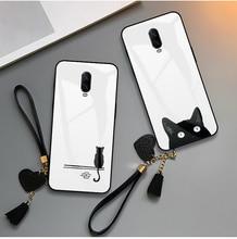 Case For Oneplus 5 5T 6 6T 7 7T Pro Original Phone Cute Cat Lip Print Lanyard Tempered Glass Soft TPU Smartphone Back Cases