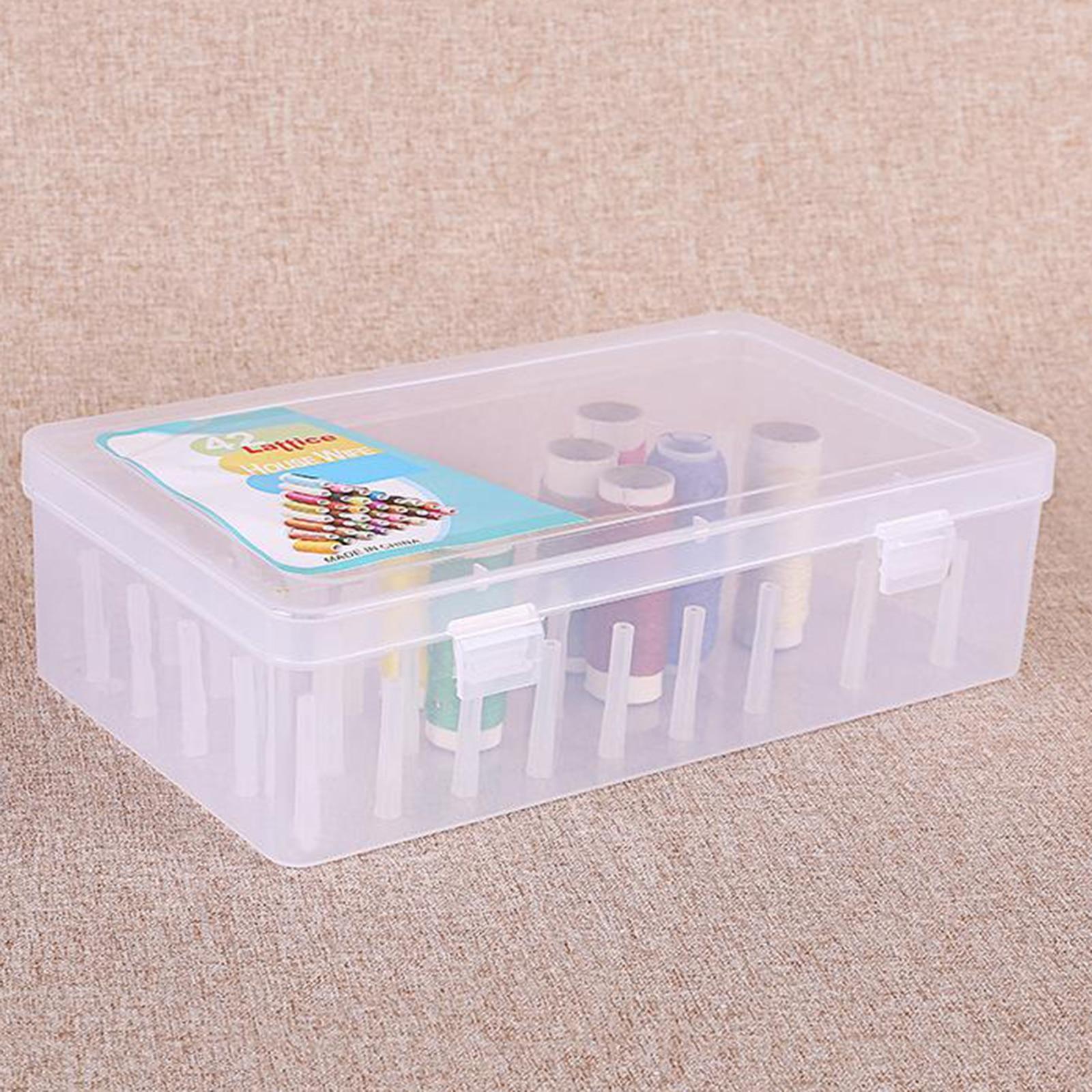 Sewing Thread Box with 42 Spools Large Capacity Craft Bobbins Organizing Case