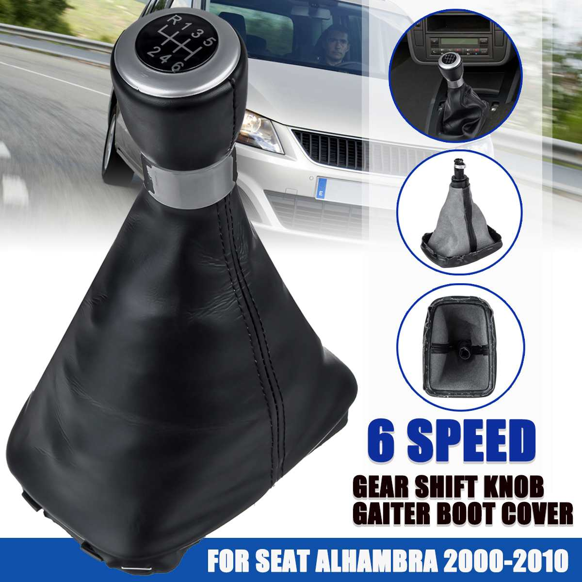 5/6 Speed Manual Gear Shift Knob Gaiter Boot Cover Lever Shifter Stick Shift Collar For Seat/Alhambra 2000-2010