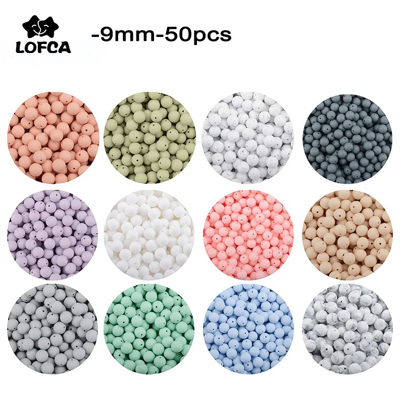 LOFCA 50 шт./лот, силиконовые бусины 9 мм, свободные шарики для прорезывания зубов, детские игрушки, Прорезыватель для зубов, без бисфенола, пищевое качество, сделай сам, ювелирное ожерелье
