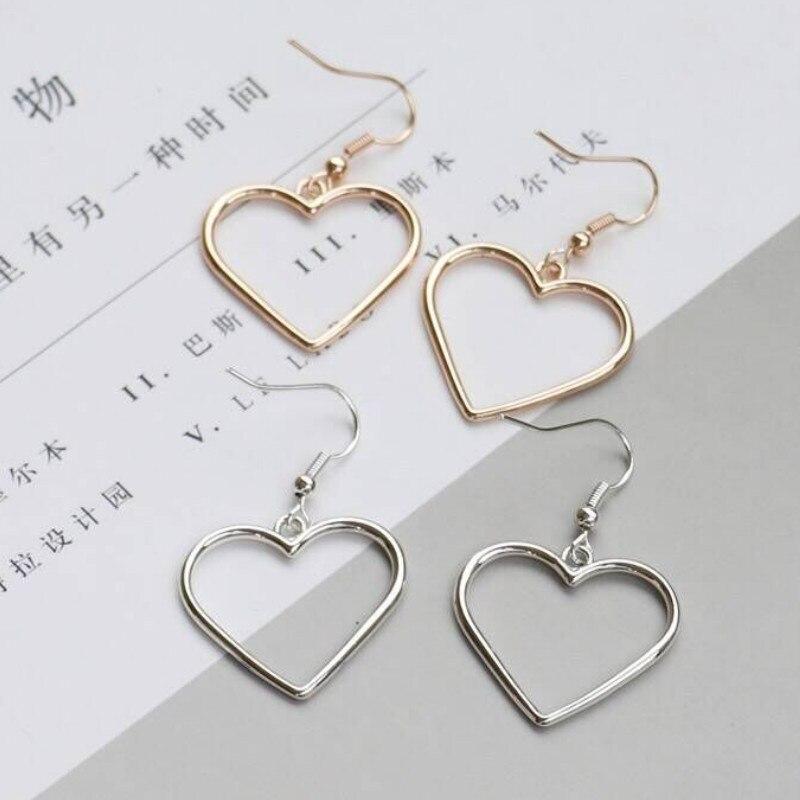 Women Hollow Geometric Sweet Golden Heart Earrings for Friends Gifts Party Jewelry Accessories