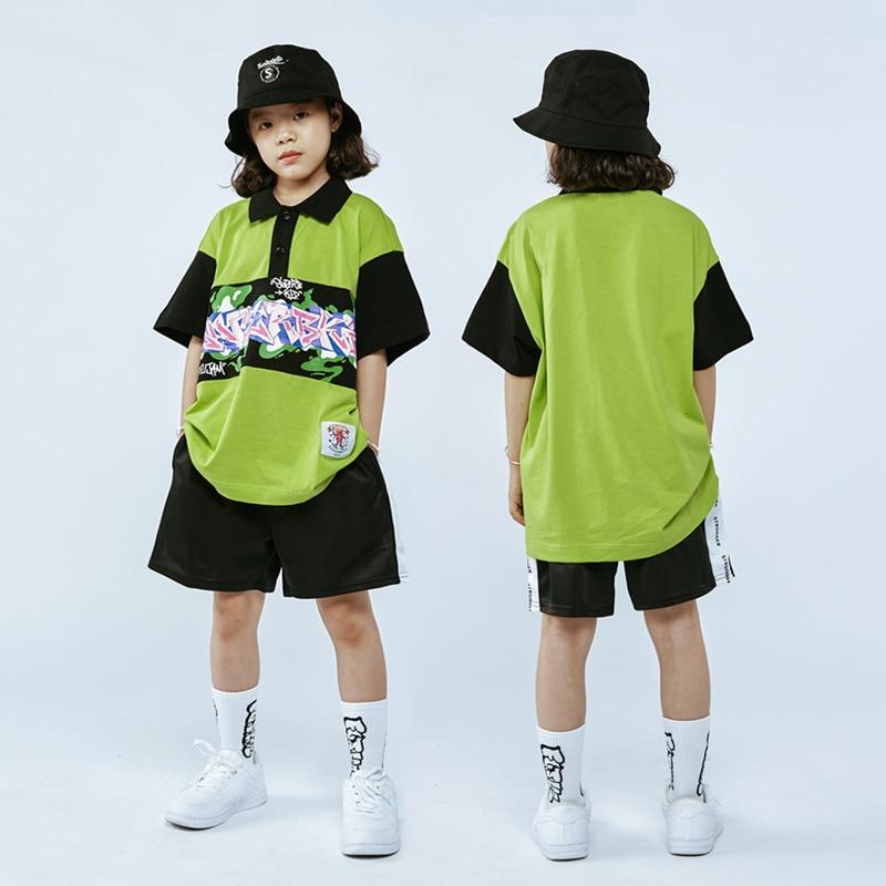 الهذيان ملابس الهيب هوب ملابس الرقص الاطفال راقصة الزي البضائع السراويل الشارع Dancewear الأخضر المرحلة زي فضفاض البلوز DL8053