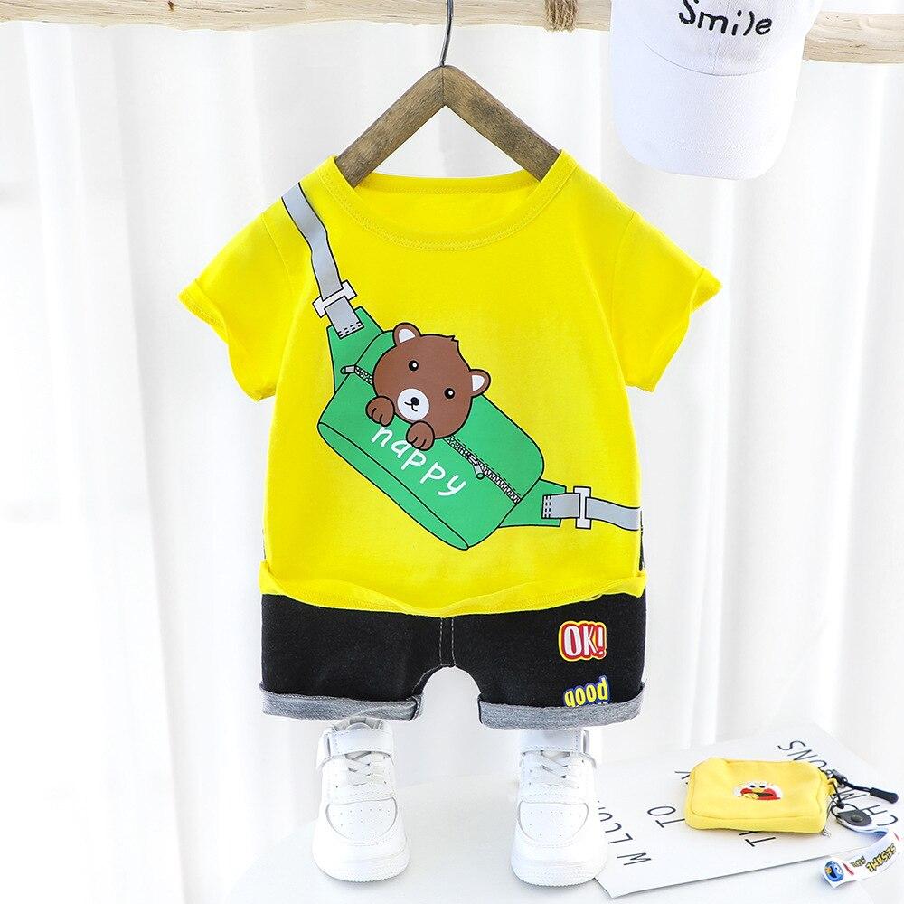 Infant Baby Boy Summer Clothes Sets Fashion Casual Cartoon T-shirt Pants 2Pcs Baby Suits Kids Clothing Sets Children Costume