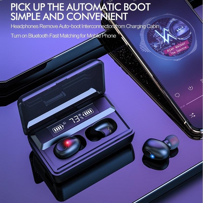 TWS Wireless 5.0 Bluetooth Earphone Waterproof Sports Headphone 9D Hifi Stereo Mini Earbuds Noise Ca