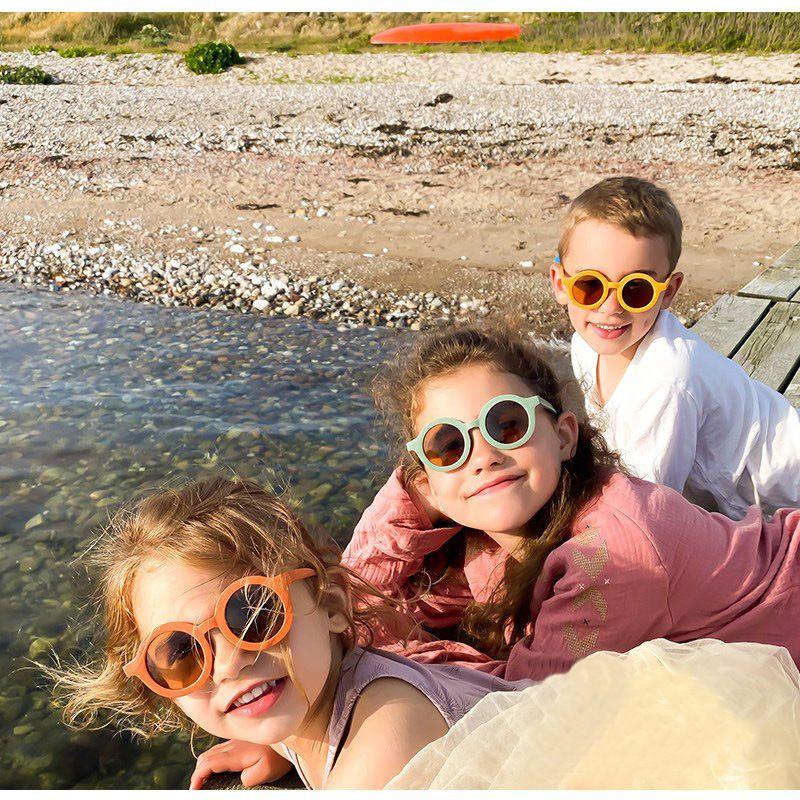 Children's Fashion Retro Solid Color Sunglasses Cute Outdoor UV400 Ultraviolet-proof Beach Protection Eyewear Kid очки 3-8Y