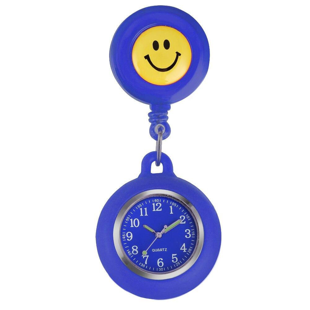 Reloj de bolsillo amarillo sonriente, reloj de enfermera, punteros luminosos de silicona, reloj colgante para mujer, reloj de enfermera, reloj de enfermera