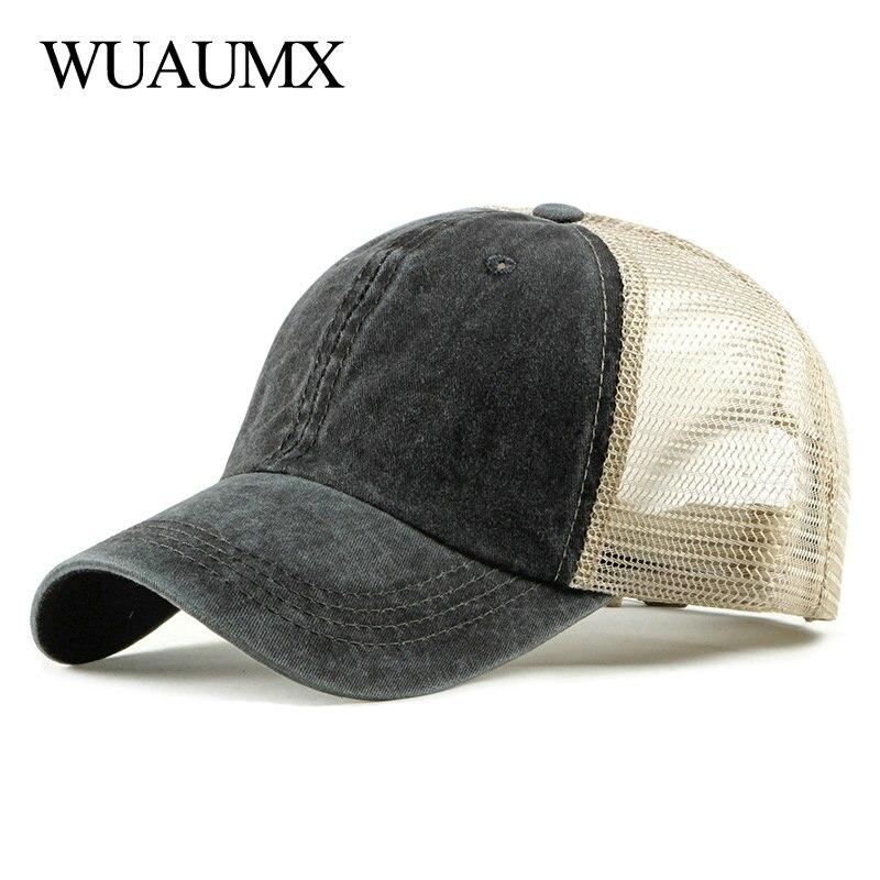 Wuaumx NEW Summer Baseball Cap Men Women Casual Solid Mesh Cap Breathable Snapback Hat Net Trucker Caps Beach Sun hat Casquette