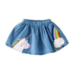 Прыжки метров Новое поступление Детские юбки с единорог Радуга аппликация модная детская одежда, брюки для девочек одежда