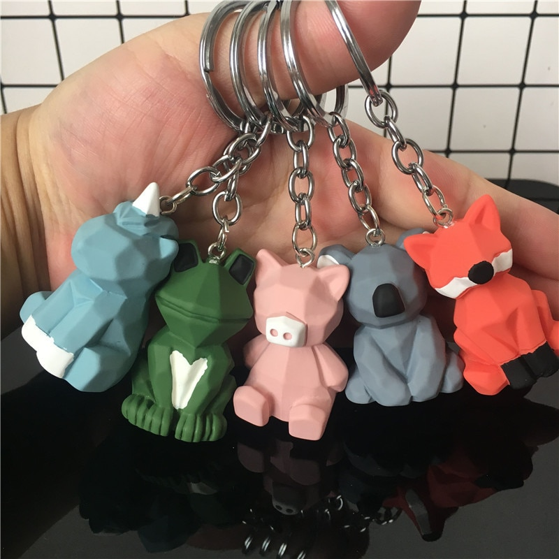 LLavero de rana de dibujos animados koala Fox 2019, Bolsos De Mujer en suspensión, llavero de coche, llavero de juguete, regalos, pendientes de joyería