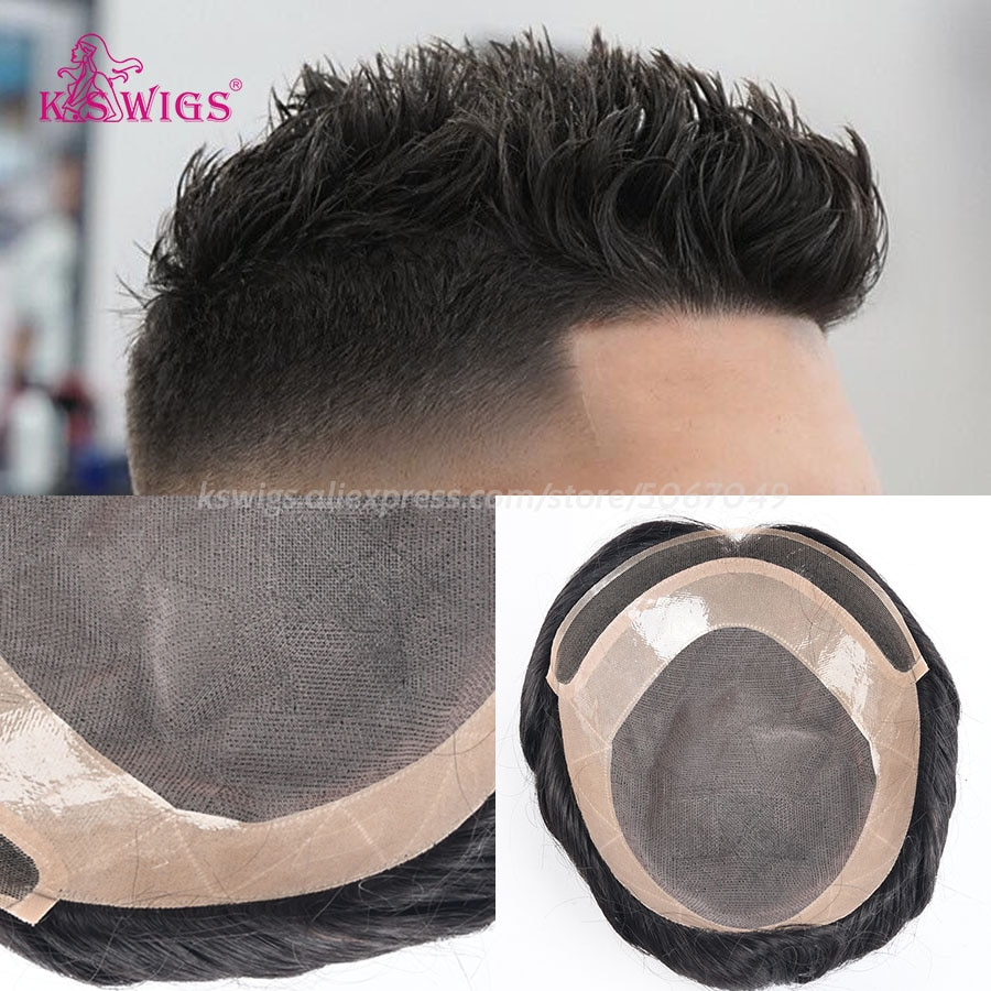 K.SWIGS-شعر مستعار رجالي ، شعر بشبكة واحدة ، شعر بشري ريمي طبيعي ، قص شعر مستعار ، نظام استبدال متين 1B